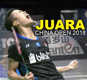 Kalahkan Empat Juara, Ginting Menjadi Pebulutangkis Keenam Indonesia Juara China Open