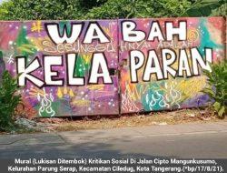 """Mural Kritik Sosial Bermunculan Ditengah Penanganan Covid-19, Kali Ini Bertuliskan """"Dipenjara Karena Lapar"""""""