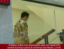 Kasus Menyuap, Politikus Partai Golkar Azis Syamsuddin Dijemput Paksa dan Ditahan KPK